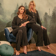 F1144 Rib-Knit Cardigan & Pants Lounge Set In Black
