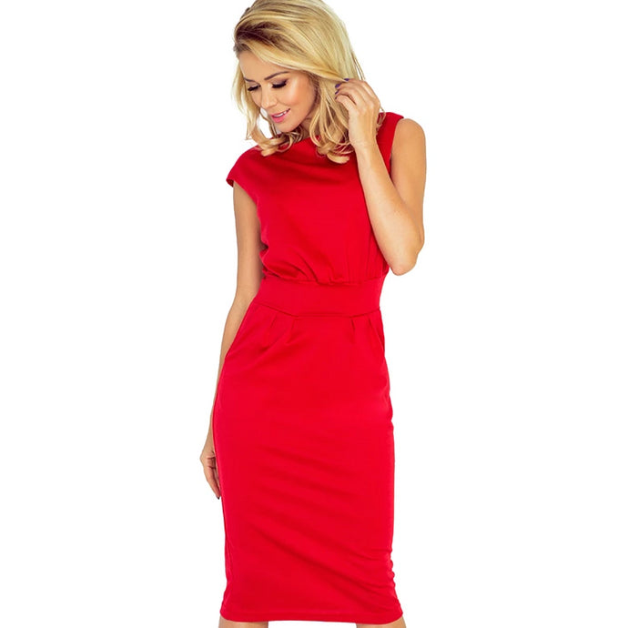 144-2 Midi Dress with Pockets In Red