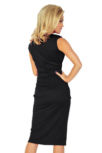 144-3 Midi Dress with Pockets In Black
