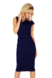 144-4 Midi Dress with Pockets In Navy
