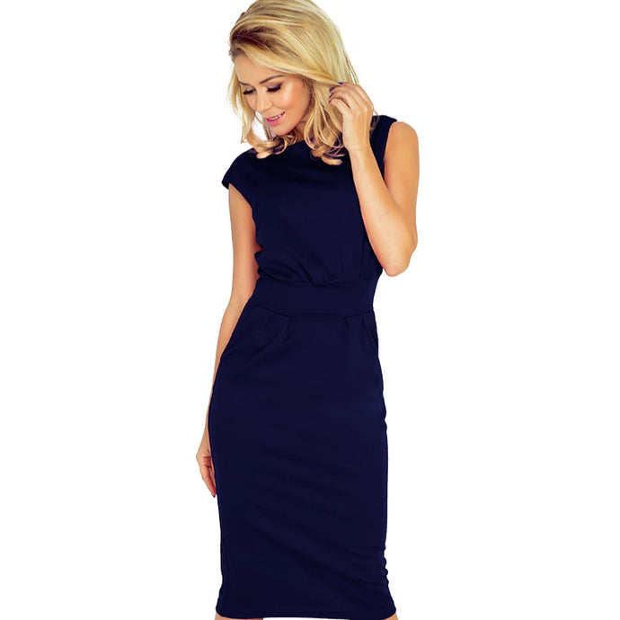 144-4 Midi Dress with Pockets In Navy Blue