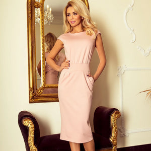 144-6 Midi Dress with Pockets In Pink
