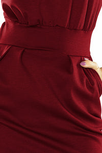 144-7 Midi Dress with Pockets In Burgundy