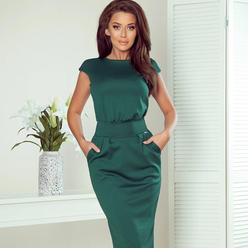 144-8 Midi Dress with Pockets In Green