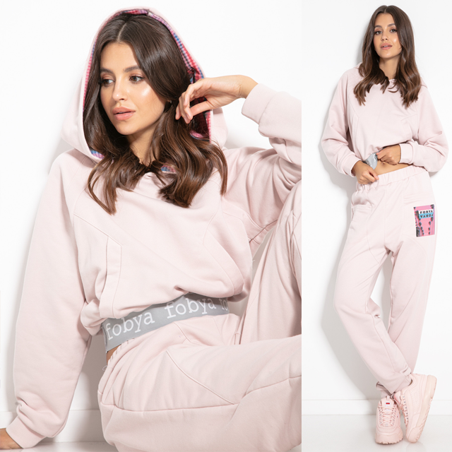 F1151 Cotton-Blend Hooded Sweatshirt & Track Pants Set In Pink