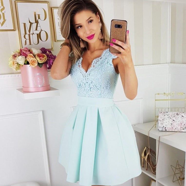 2139-15 Fit & Flare Belted Mini Dress In Mint