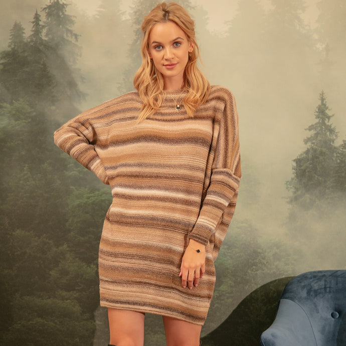 F1153 Wool-Blend Oversize Stripe Jumper Mini Dress In Beige