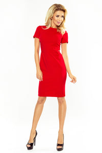 150-2 Short Sleeve Bodycon Midi Dress In Red