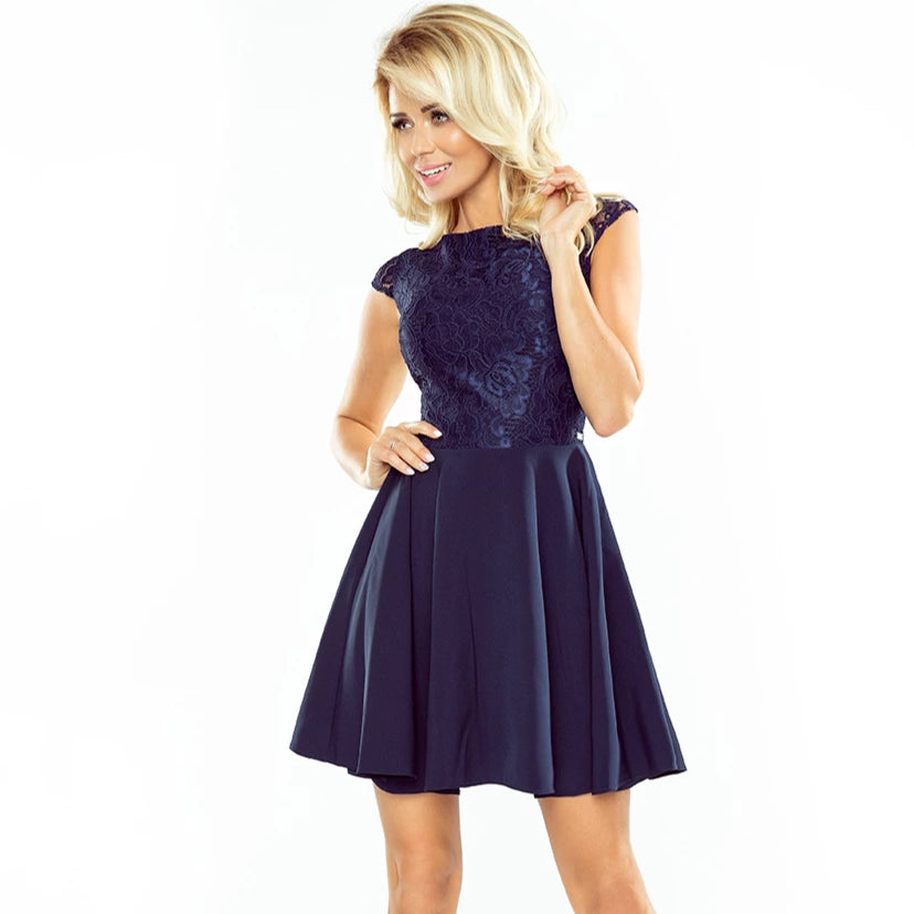 157-1 Lace Bodice Mini Dress In Navy Blue