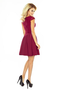 157-3 Lace Bodice Mini Dress In Burgundy