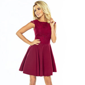 157-3 Lace Bodice Skater Mini Dress In Burgundy