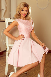 157-4 Lace Bodice Mini Dress In Pink