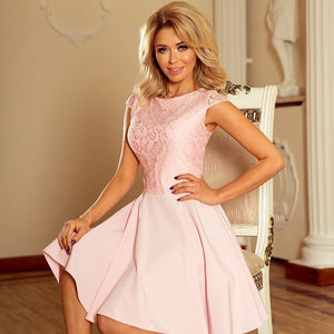 157-4 Lace Bodice Skater Mini Dress In Pink