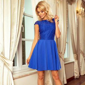 157-5 Lace Bodice Skater Mini Dress In Royal Blue