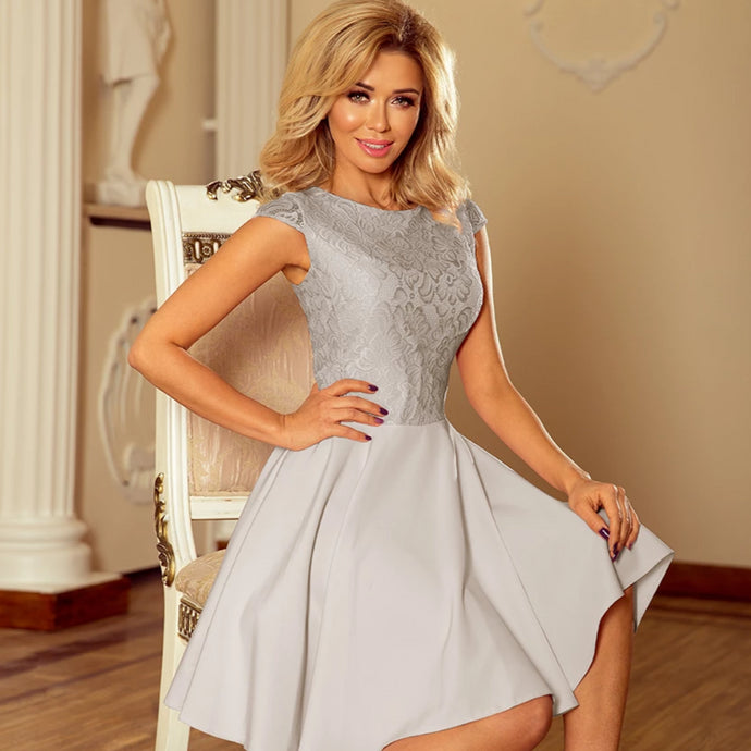 157-6 Lace Bodice Skater Mini Dress In Grey
