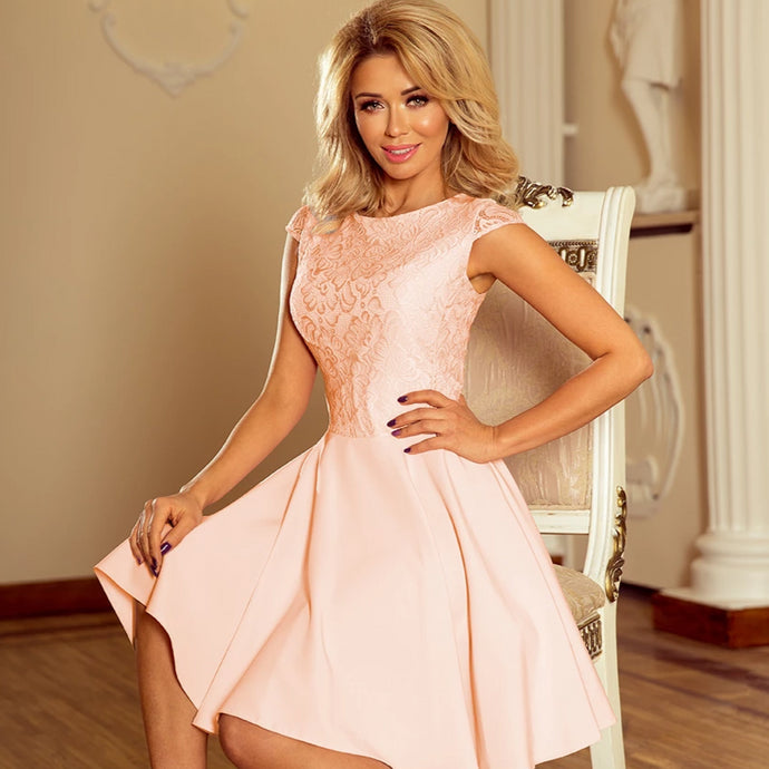 157-7 Lace Bodice Skater Mini Dress In Peach