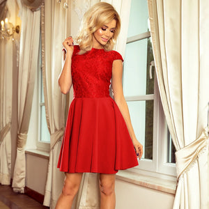 157-8 Lace Bodice Skater Mini Dress In Red