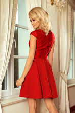 157-8 Lace Bodice Mini Dress In Red