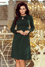 158-3 Trapeze Knee-Length Dress with Self Tie Bow In Green