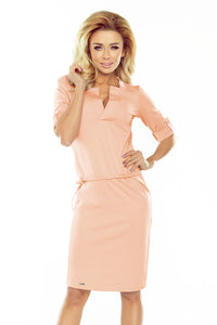 161-10 Drawstring Waist Knee-Length Dress In Peach