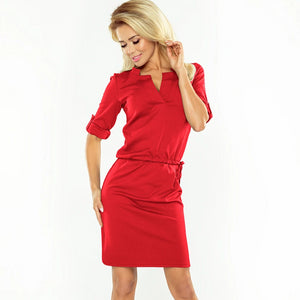 161-11 Drawstring Waist Knee-Length Dress In Red