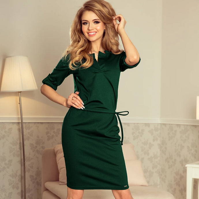 161-12 Drawstring Waist Knee-Length Dress In Green