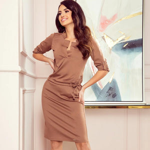 161-15 Drawstring Waist Knee-Length Dress In Brown