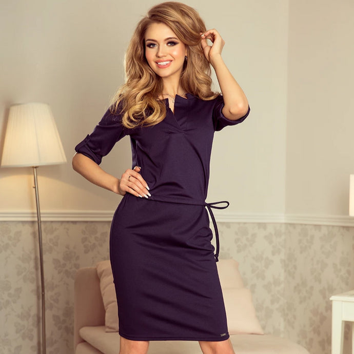 161-7 Drawstring Waist Knee-Length Dress In Navy