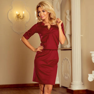161-9 Drawstring Waist Knee-Length Dress In Burgundy