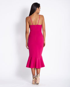 166 Asymmetric Ruffled Bodycon Midi Dress In Fuchsia