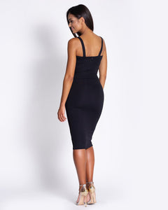 167 Strap Cup Detail Bodycon Dress In Black