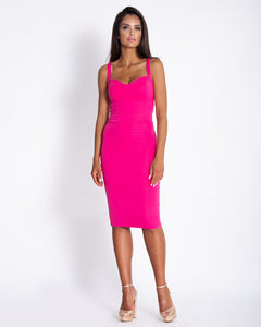 167 Strap Cup Detail Bodycon Dress In Raspberry