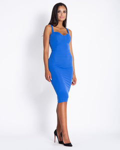 167 Strap Cup Detail Bodycon Dress In Blue