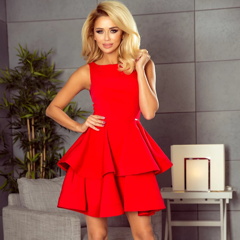 169-1 Fit & Flare Mini Dress In Red
