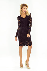 170-1 Lace Bodycon Mini Dress In Black