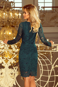 170-3 Lace Bodycon Mini Dress In Green