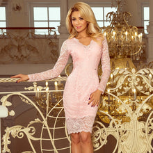 170-4 Lace Bodycon Mini Dress In Pink