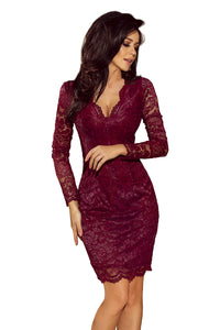 170-5 Lace Bodycon Mini Dress In Burgundy