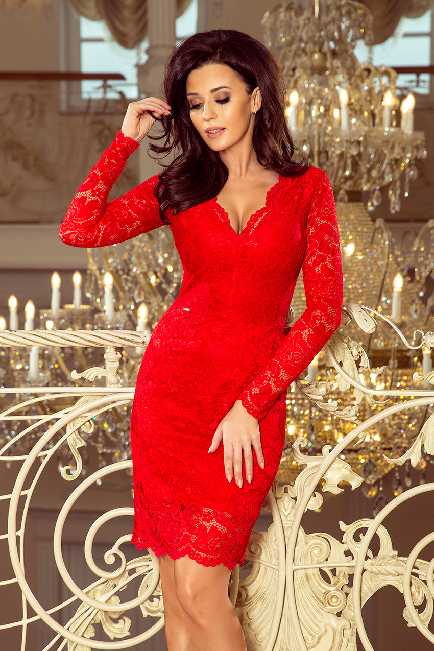 170 6 Red Lace V Neck Bodycon Dress
