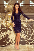 170-7 Lace Bodycon Mini Dress In Navy