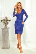 170-8 Lace Bodycon Mini Dress In Royal Blue