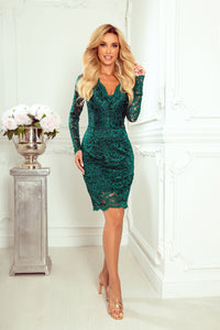 170-9 Lace Bodycon Mini Dress In Bottle Green