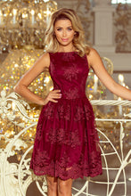 173-2 Burgundy Embroidered Lace  Skater Dress