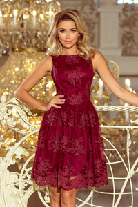 173-2 Embroidered Lace Skater Knee-Length Dress In Burgundy