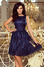 173-3 Navy Embroidered  Lace  Skater Dress