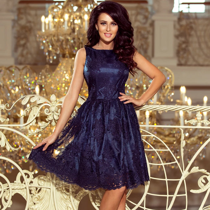 173-3 Embroidered Lace Skater Knee-Length Dress In Navy Blue