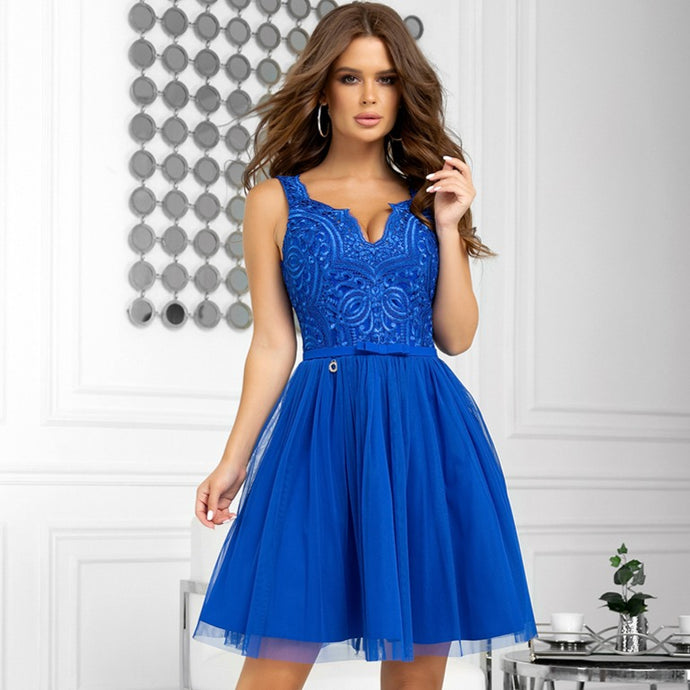 B2206-05 Fit & Flare Tulle & Embroidered Lace Mini Dress In Royal Blue