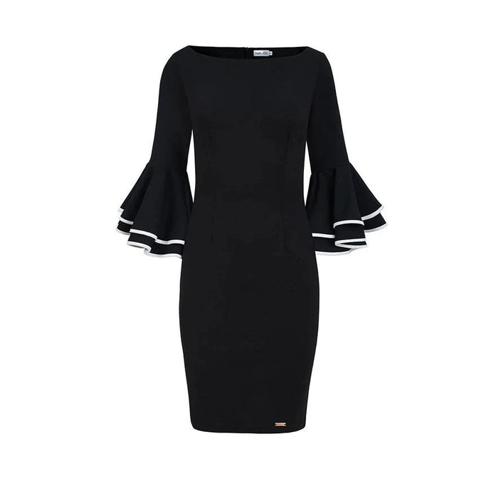 188-2 Bodycon Midi Dress with Flare Sleeves In Black