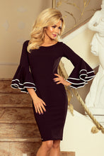 188-2 Black Bodycon Dress with Flamenco Sleeves