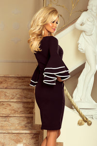 188-2 Bodycon Midi Dress with Double Flare Sleeves In Black